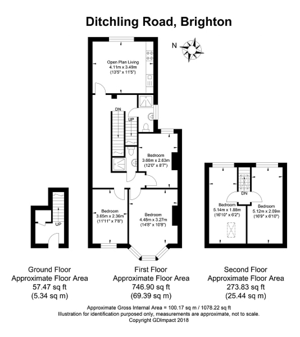 Floorplans For Ditchling Road, Brighton, East Sussex. BN1 6JH