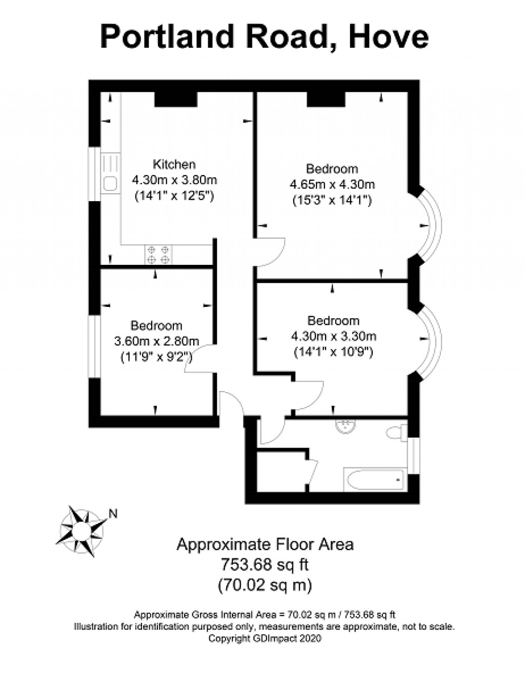 Floorplans For Portland Road, Hove, East Sussex. BN3